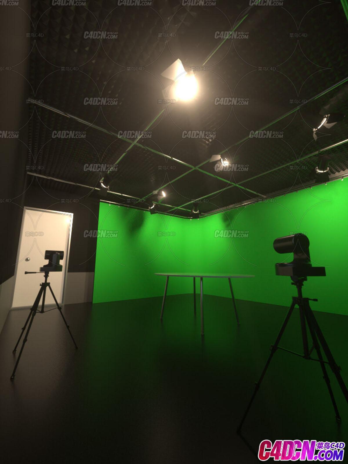 C4D模型 摄影棚绿幕背景舞台设计场景工程模型