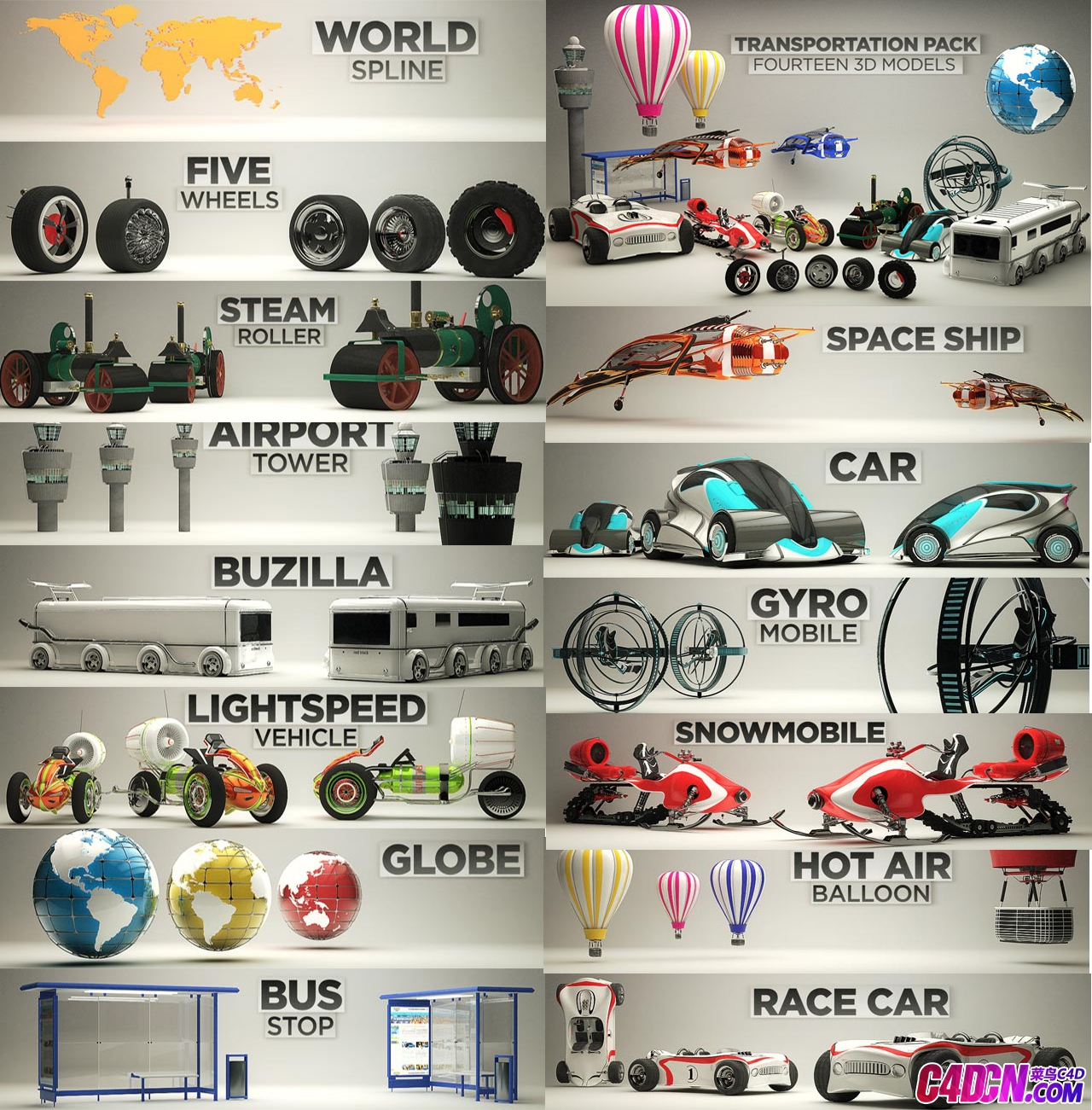 C4D交通模运输型大合集 C4D transportation mode transportation type collection