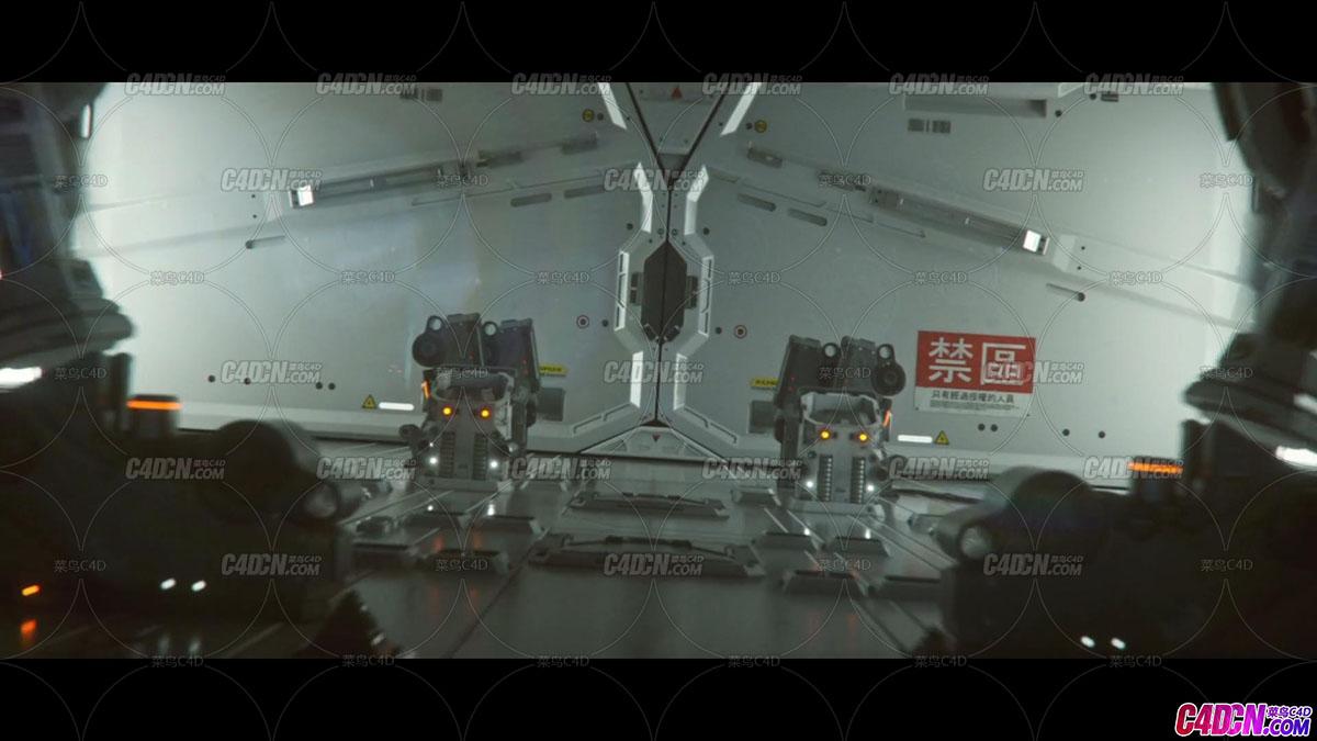 Octane渲染器C4D-ZERO-DAY零时差科幻场景机械工程模型