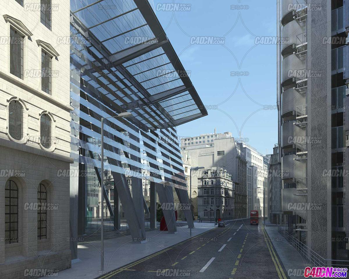 伦敦城市建筑房屋场景3D模型