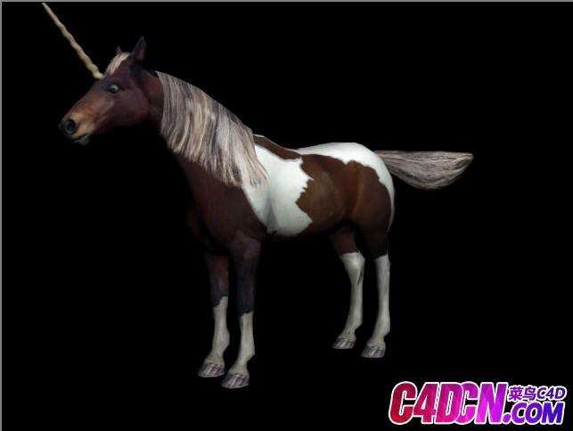 Horse各种已绑定的带动画的次时代马和独角兽3D模型合辑