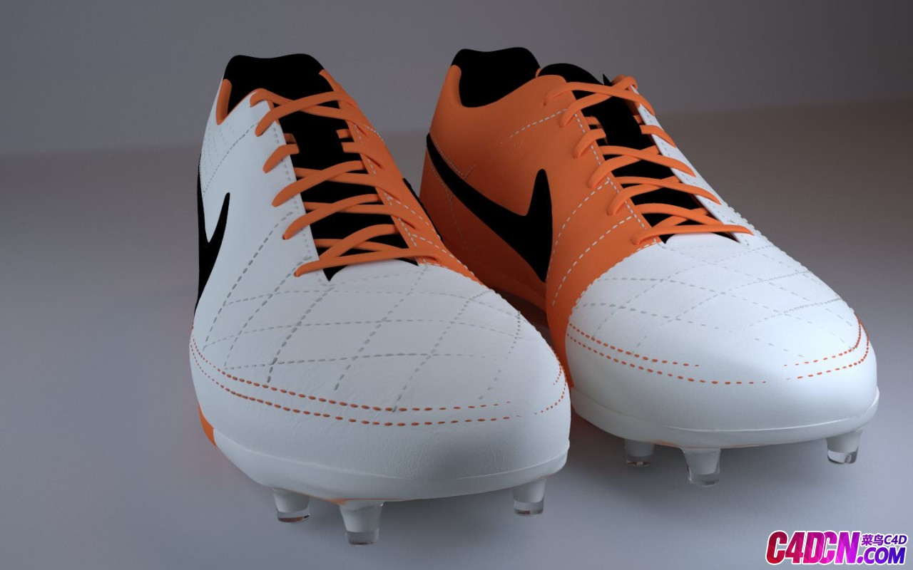 高精度写实耐克Nike足球运动鞋C4D模型 Nike Tiempo Legend V Football Boots c4d