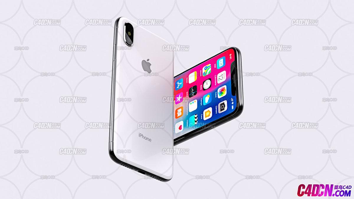 苹果X手机C4D模型 Iphone X model