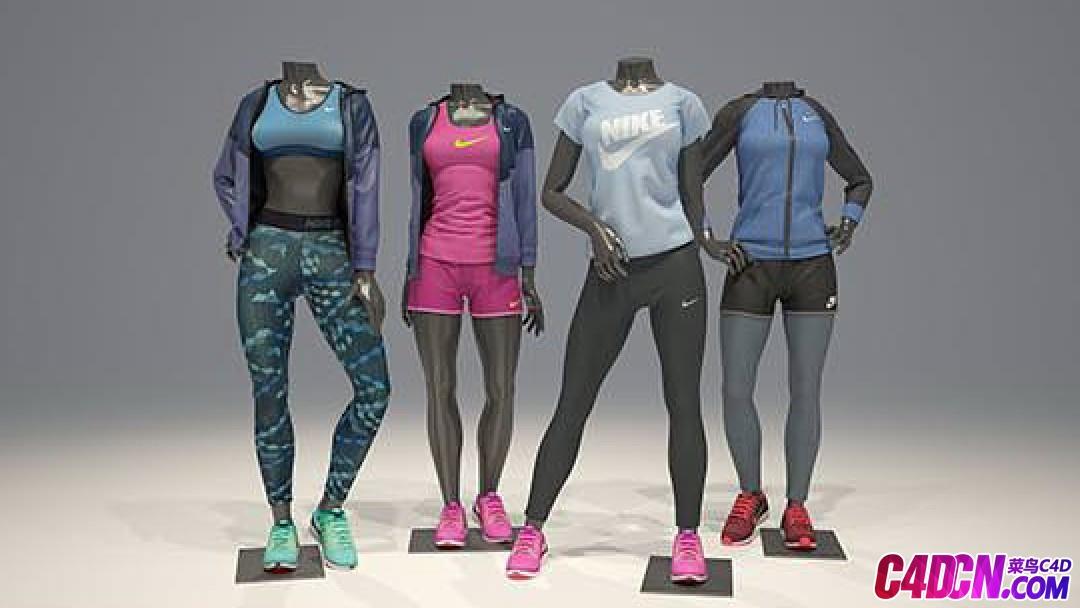 超市服装模特3D模型 Nike-Female mannequins