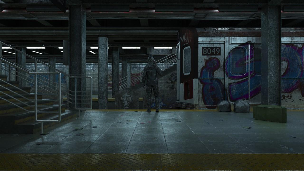 C4D废弃的地铁站