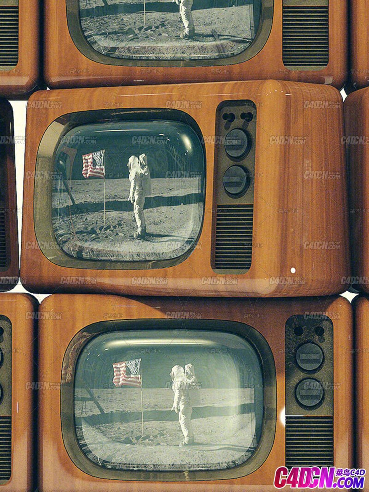 播放美国宇航员登月画面老旧复古木质外壳电视机C4D模型