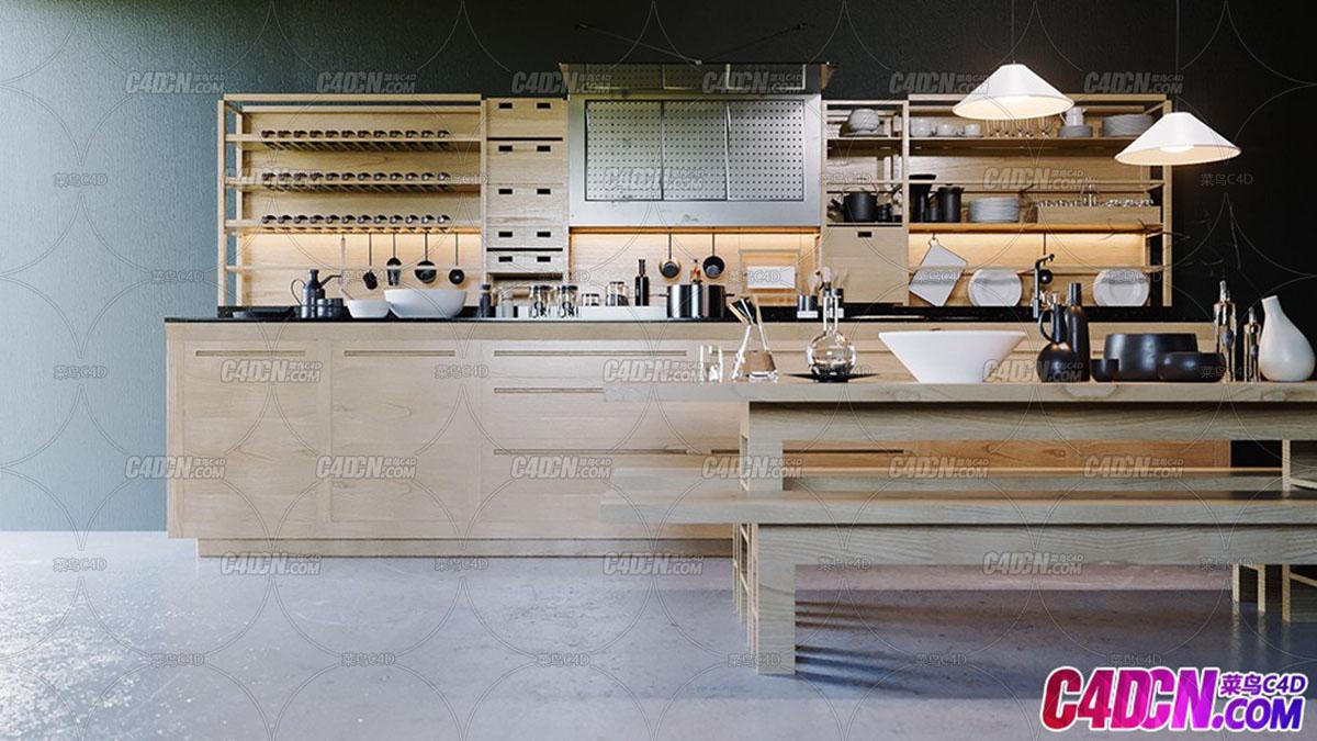 厨房室内设计效果图C4D工程 Valcucine Kitchen