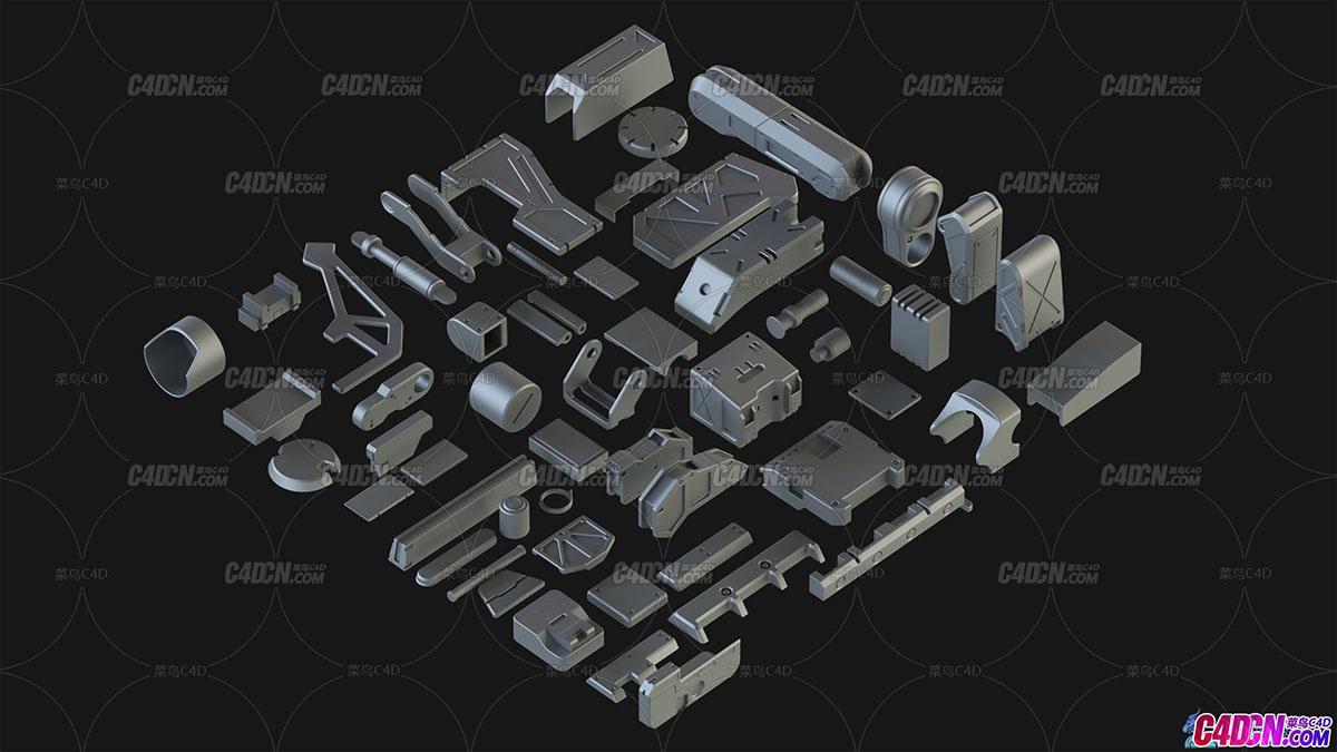 硬表面机械机甲机器组件零件C4D模型合集 Hard Surface Kitbash Pack
