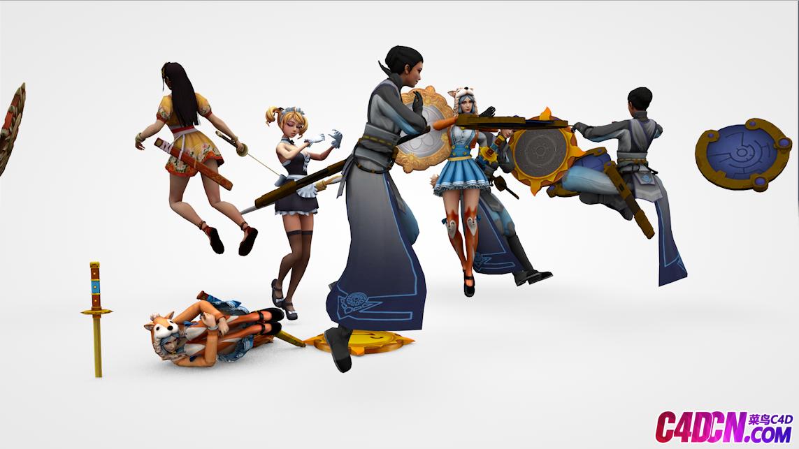 100多组游戏人物C4D模型含动画含绑定