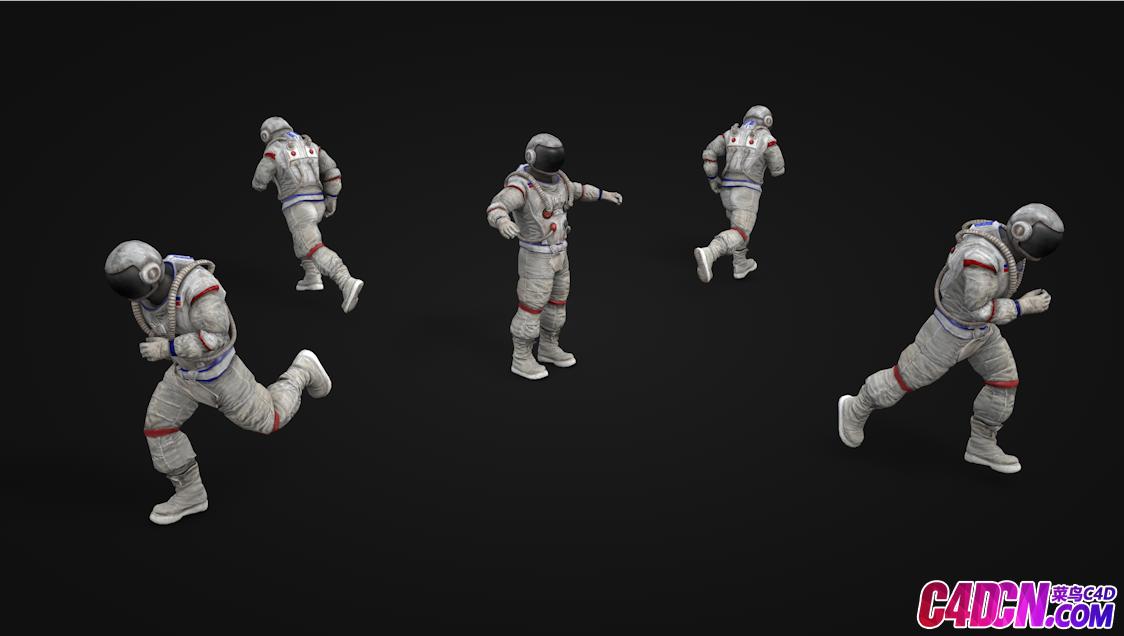 四款含绑定含动画宇航员C4D模型