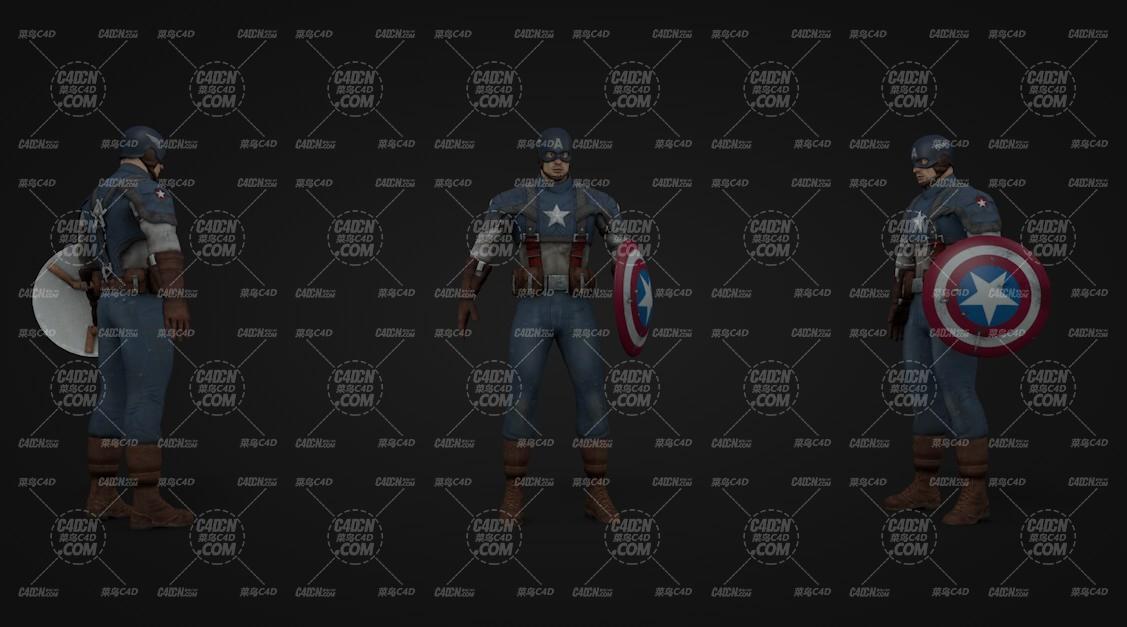 超级英雄美国队长C4D模型