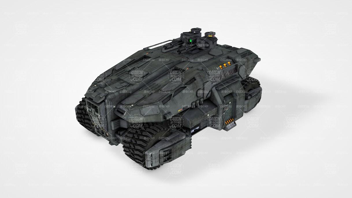 战争机甲履带战车C4D模型
