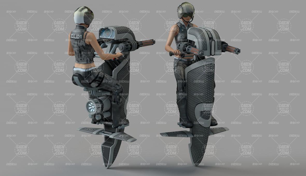 未来骑飞行摩托的女战士C4D模型