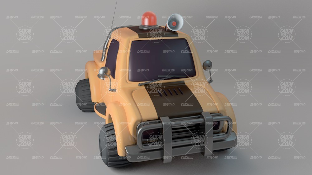卡通玩具警车C4D模型 Cartoon toy police car C4D model