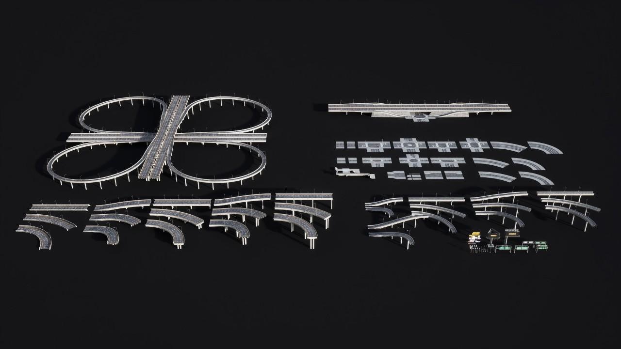 高速公路高架桥广告牌交通C4D模型合集 Kitbash3d – Props: Highways