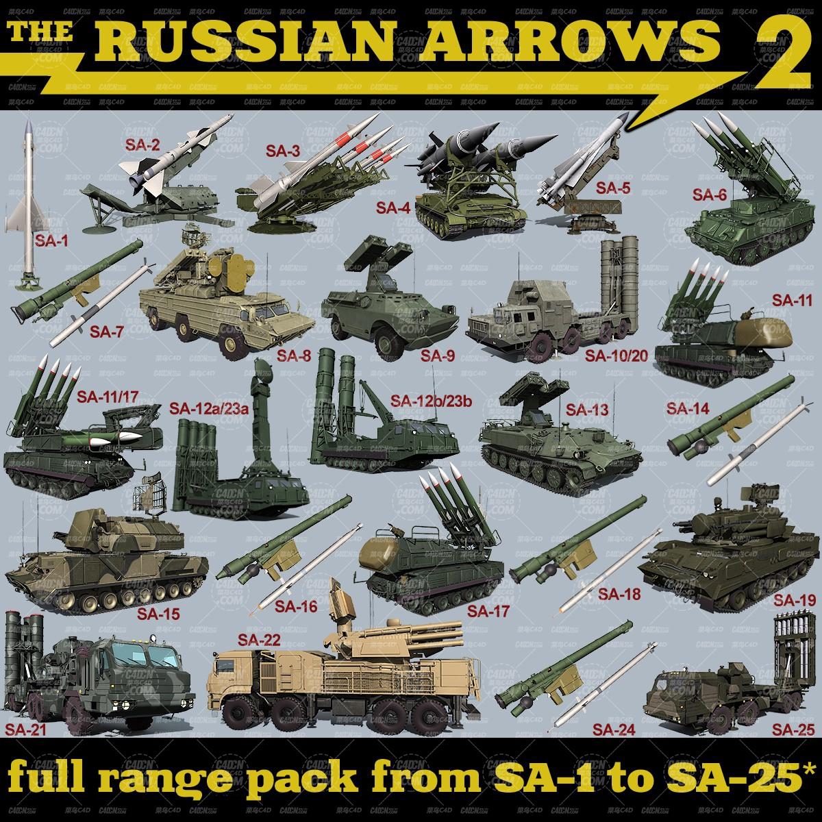 25组俄罗斯战争防控导弹模型合集