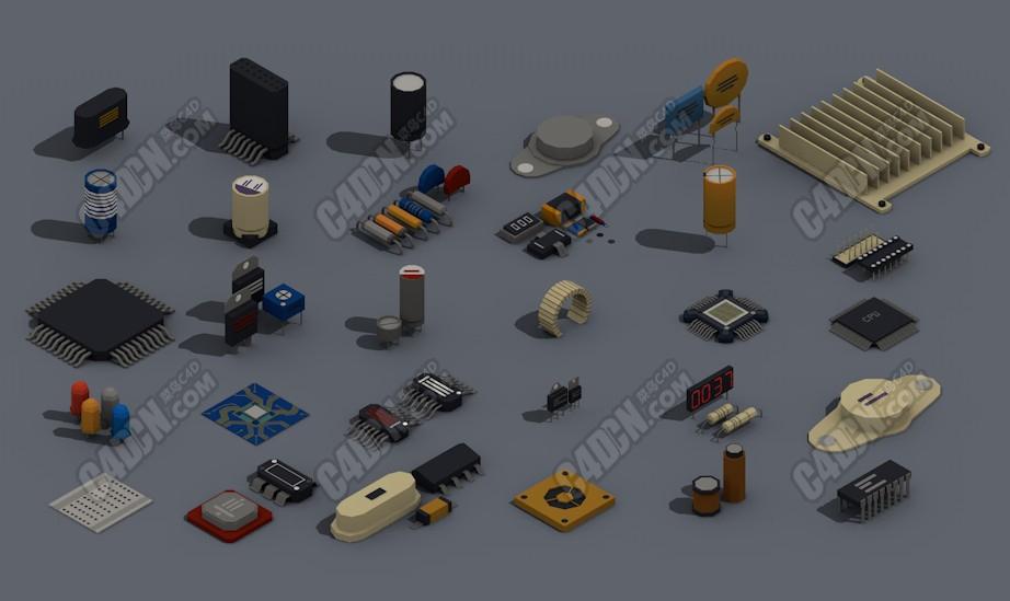 C4D模型 lowpoly风格低面模数码产品芯片散热器电脑零件模型合集