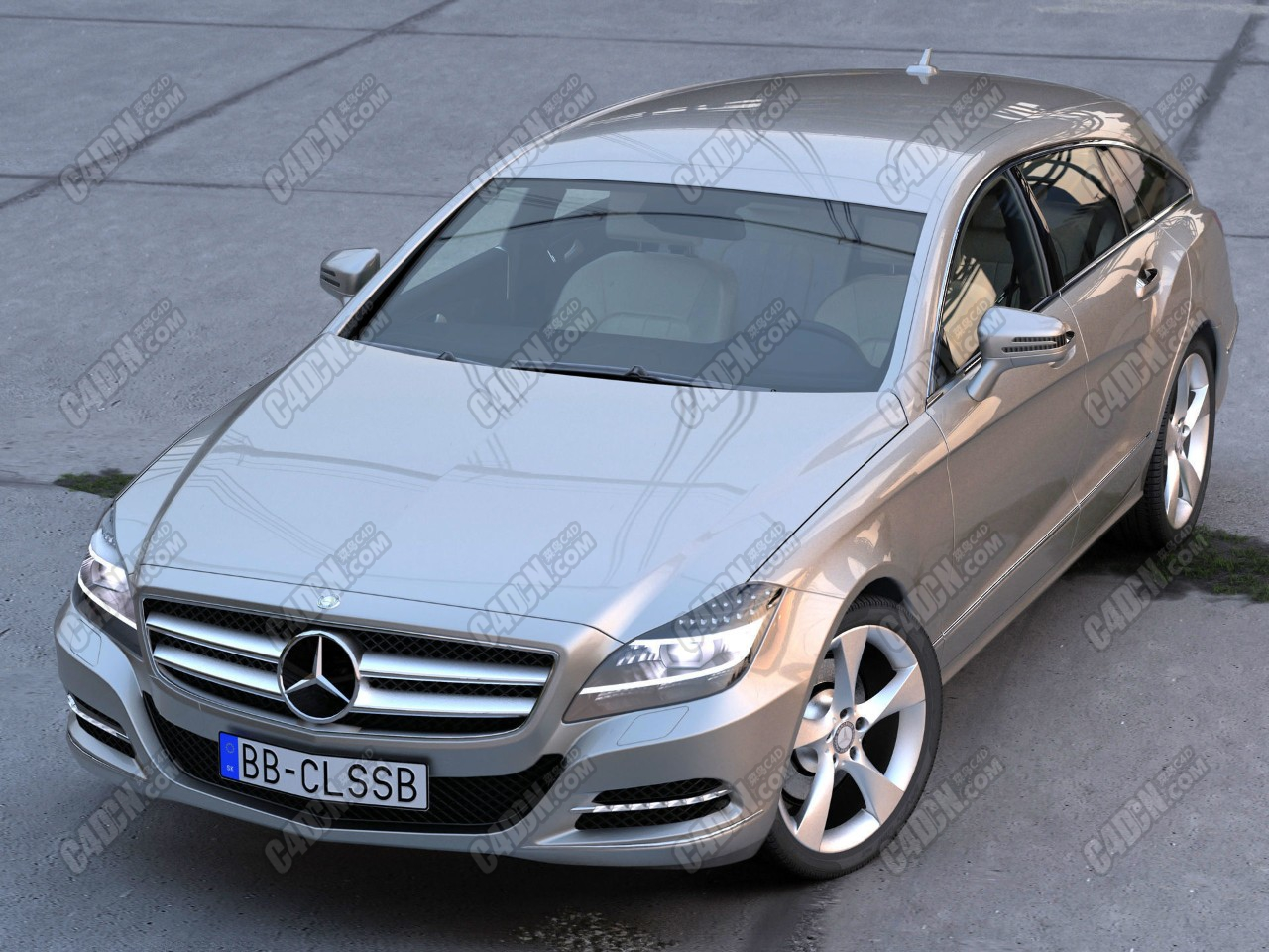 梅赛德斯奔驰CLS豪华汽车C4D模型 Mercedes Benz CLS Shooting Brake 2013