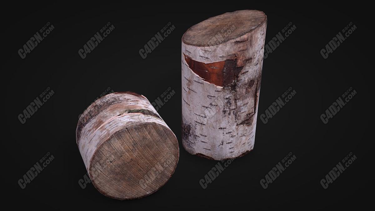 寫實圓木樹樁樹墩C4D模型 Realistic C4D model of log stump stump