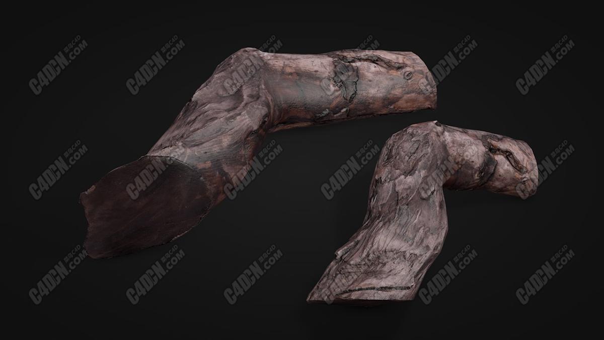 高精度腐爛老木頭爛木樁C4D模型 High precision rotten wood rotten wood