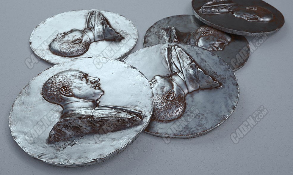 C4D袁大头银币钱币模型 C4D Yuan Big Head Silver Coin Model