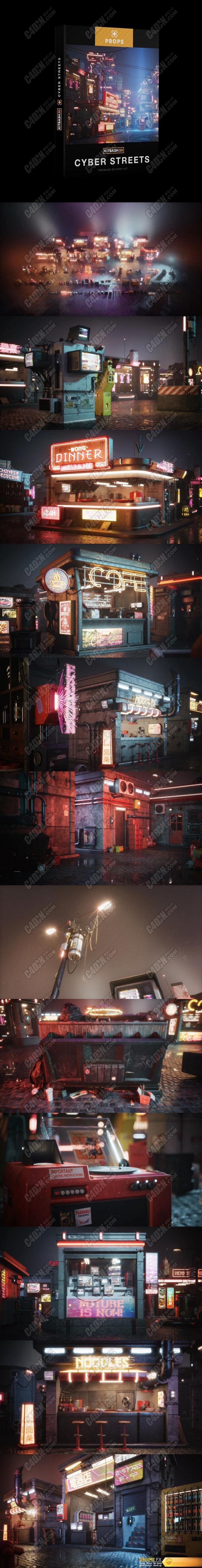 3D科幻赛博朋克建筑未来楼房街道房屋模型合集