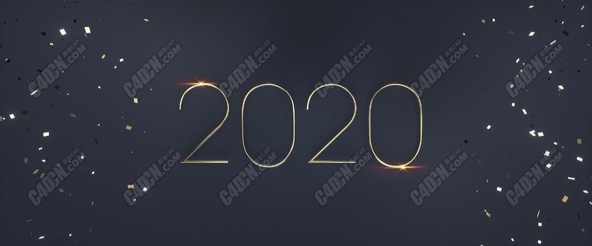 Octane渲染器簡約數字2020新春新年海報C4D工程