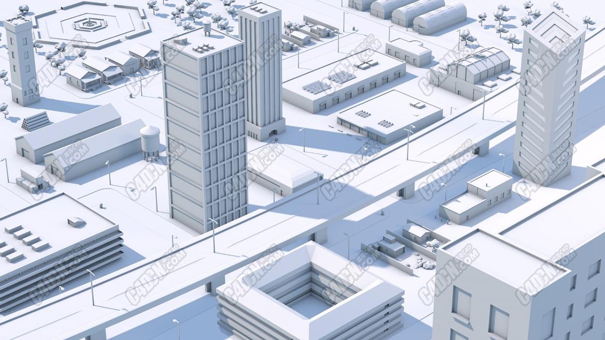 C4D简约风格白模城市建筑街道材质模型