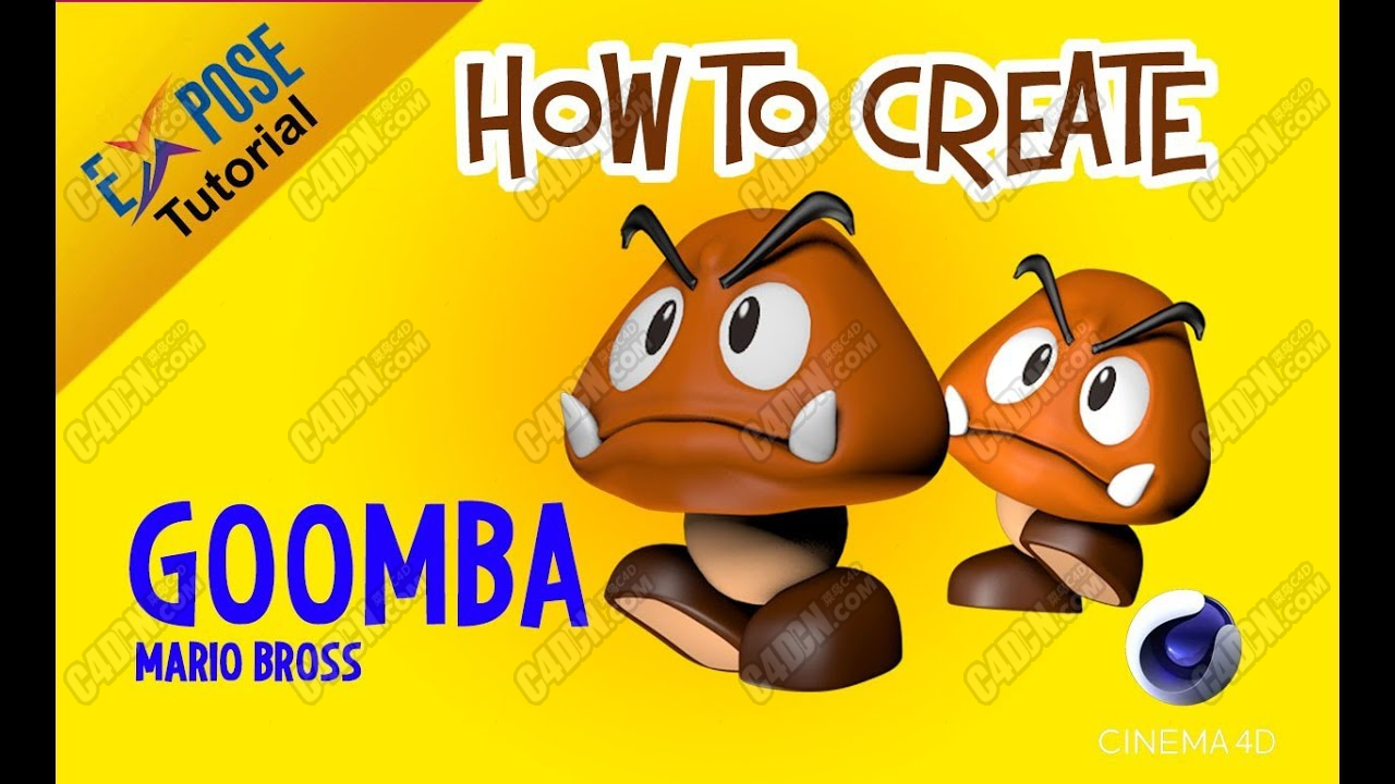 C4D卡通形象玩偶公仔建模布線教程 Cinema 4D Tutorial - Model Goomba (Mario Bros)