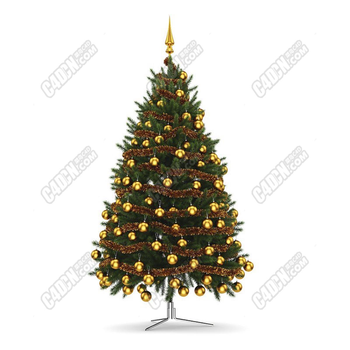 C4D黃金閃亮圣誕樹小球節日裝飾品模型