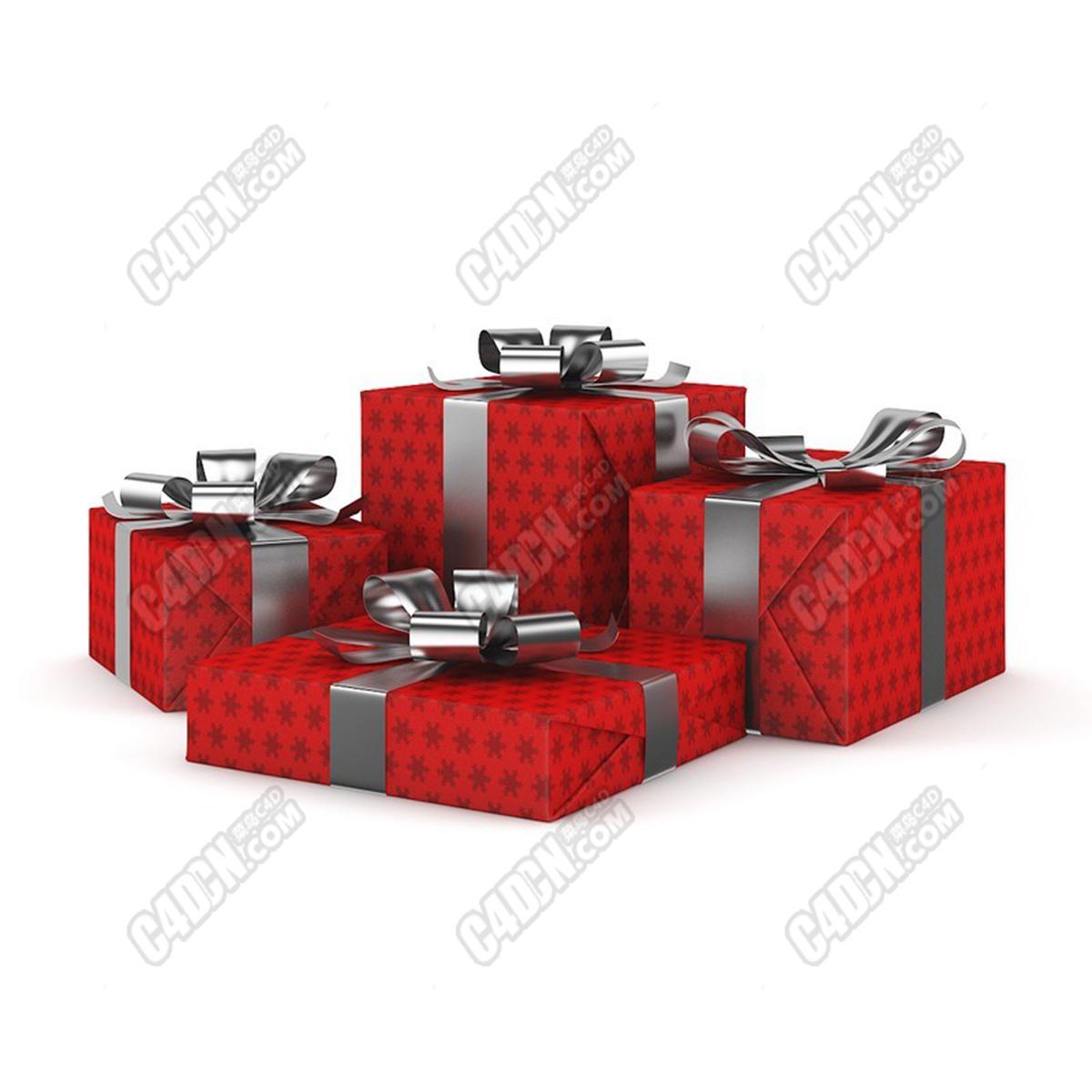 C4D丝带包装礼品盒礼物包装盒节日模型