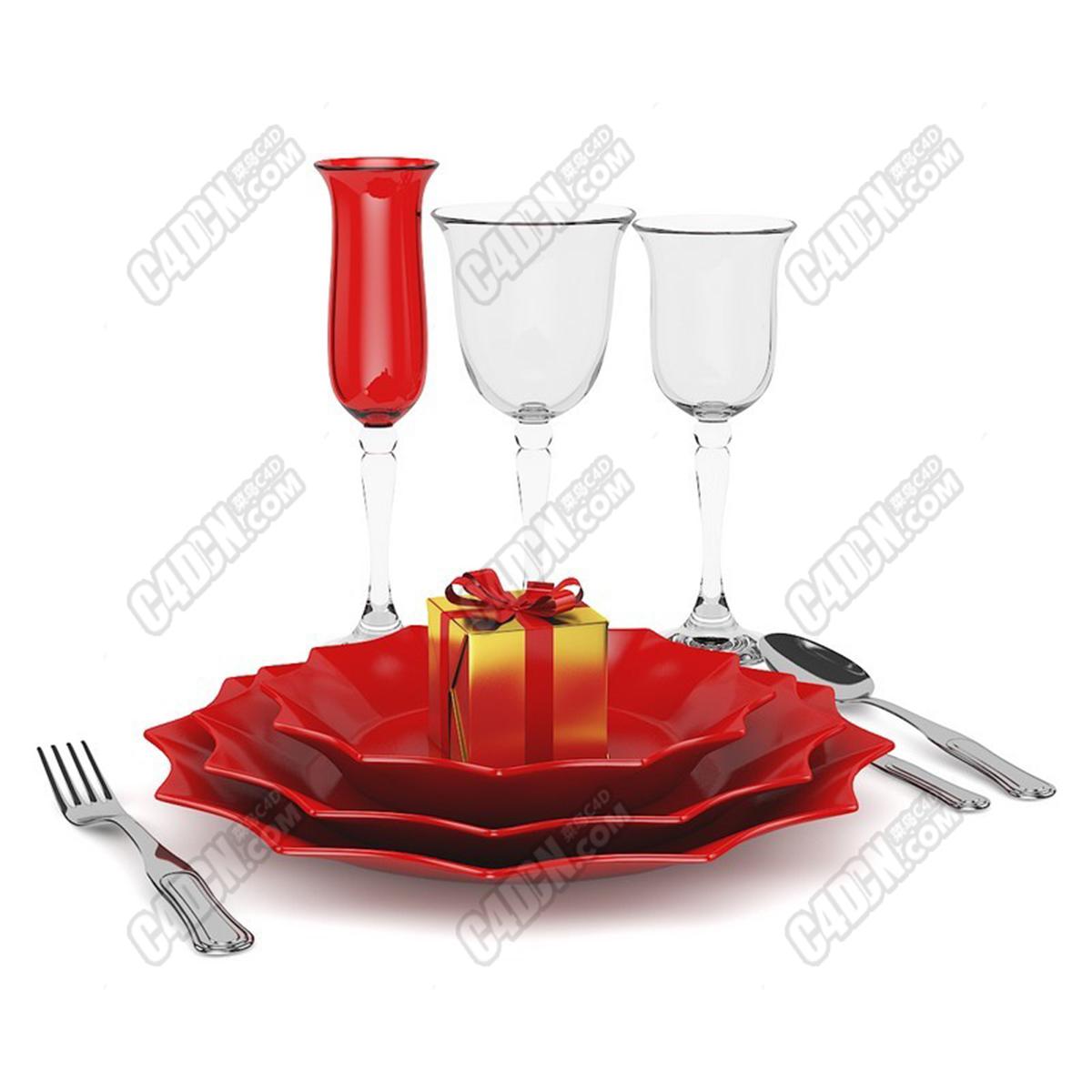 C4D高脚杯玻璃杯碟子盘子礼盒刀叉餐具模型