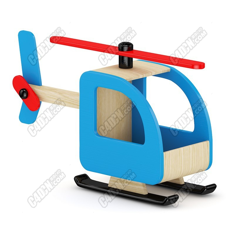 C4D实木直升飞机小飞机儿童玩具模型 Children's toy model of C4d solid wood helicopter