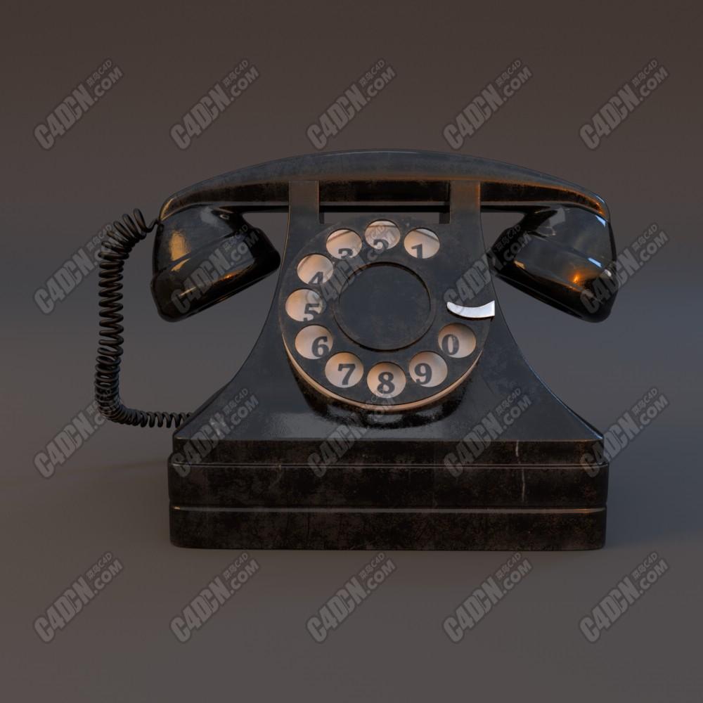 C4D阿诺德渲染器复古拨号电话机模型
