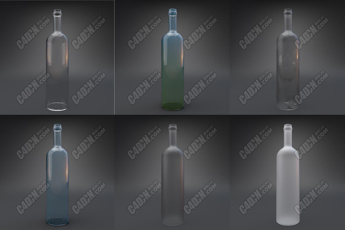 C4D阿诺德渲染器玻璃材质酒瓶多材质工程模型