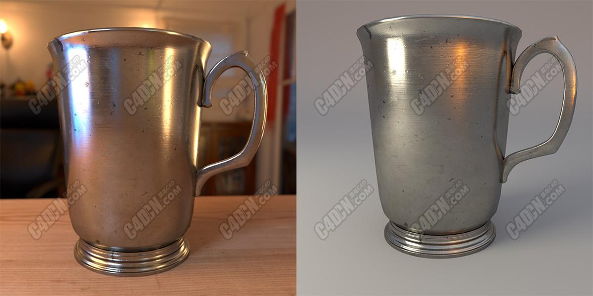 C4D阿诺德渲染器不锈钢拉金属水杯模型