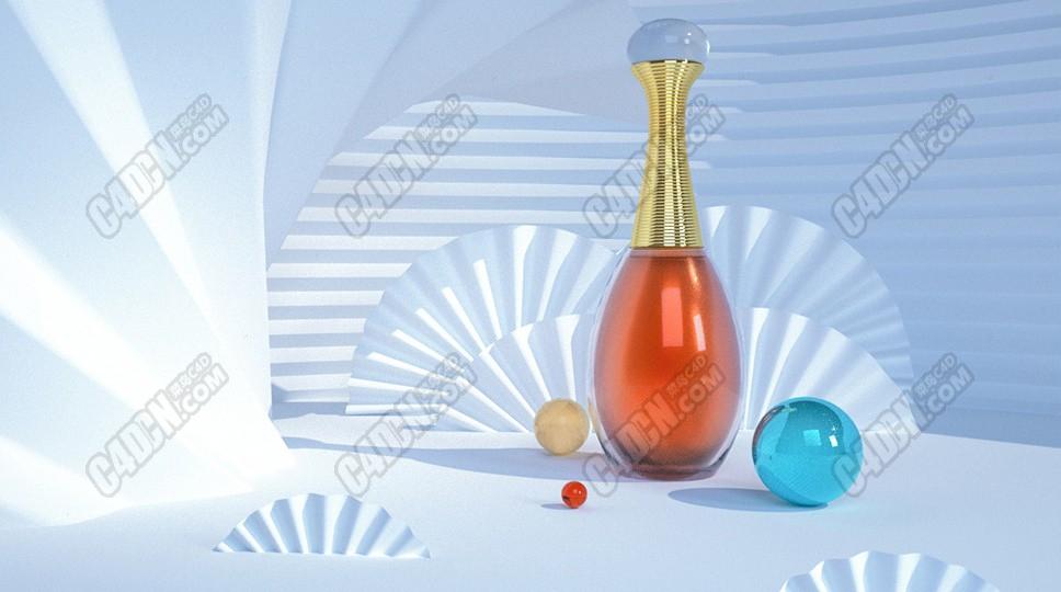 C4D软件Octane渲染器迪奥香水化妆品3D产品模型工程 Octane Render渲染