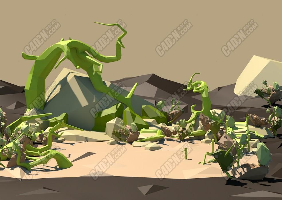 C4D低多边形沙漠绿植环境场景模型