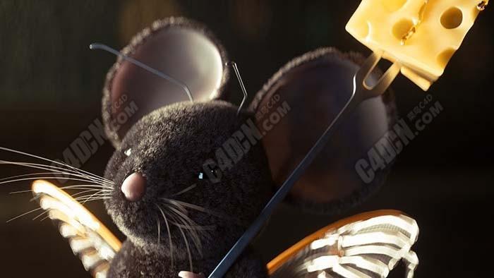 C4D模拟逼真的毛发可爱小老鼠生物渲染效果Octane渲染器视频教程