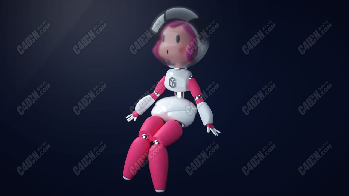 C4D可爱卡通宇航员Octane渲染器工程模型