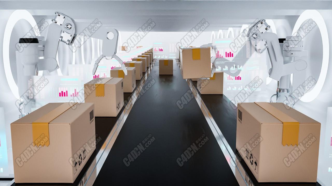 C4D工厂包装工作机器人生产线传送带工程模型