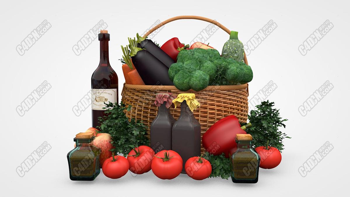 C4D菜篮子西葫芦花菜茄子西红柿红酒苹果水果蔬菜模型场景工程