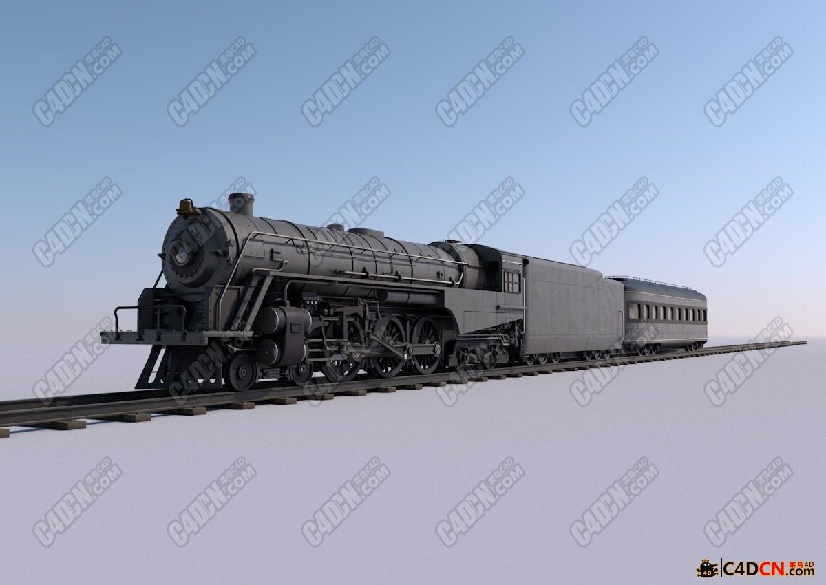 C4D 蒸汽機車模型