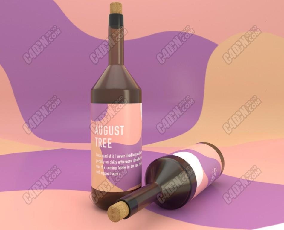 C4D多边形建模布线制作酒瓶3D模型中文视频教程