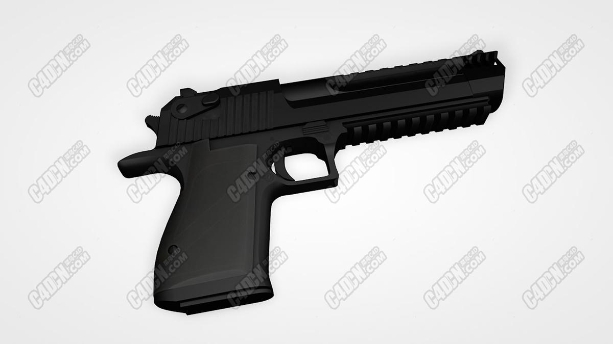沙漠雄鹰手枪C4D模型 Desert Eagle