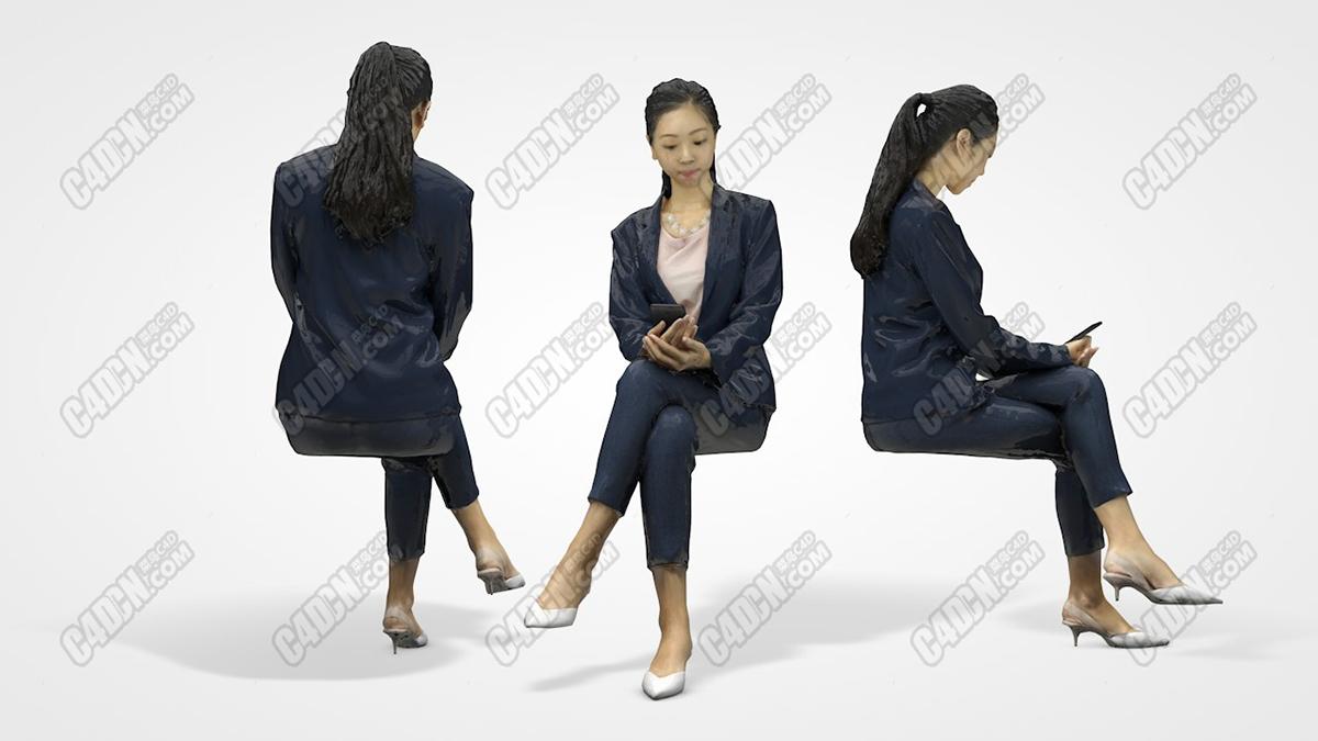 坐在凳子上低头看手机西装白领女孩艾米丽C4D人物模型 Emily – C4D Scan