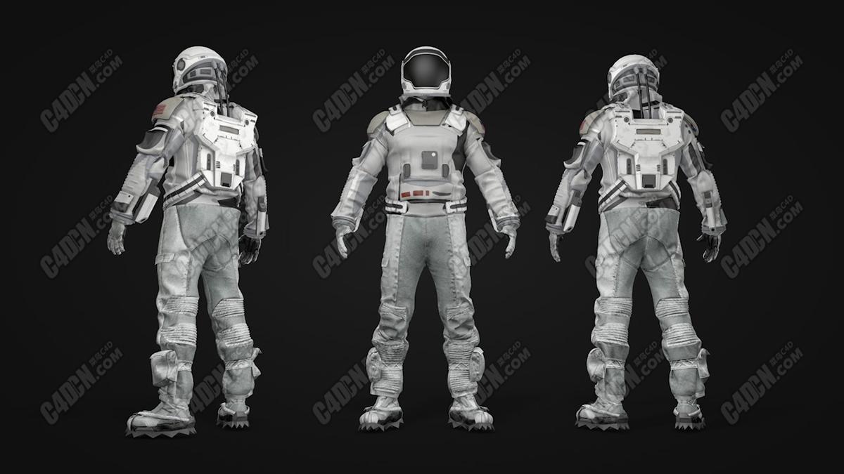 C4D未来科幻星际太空服人物C4D素材模型资源 Interstellar Space Suit