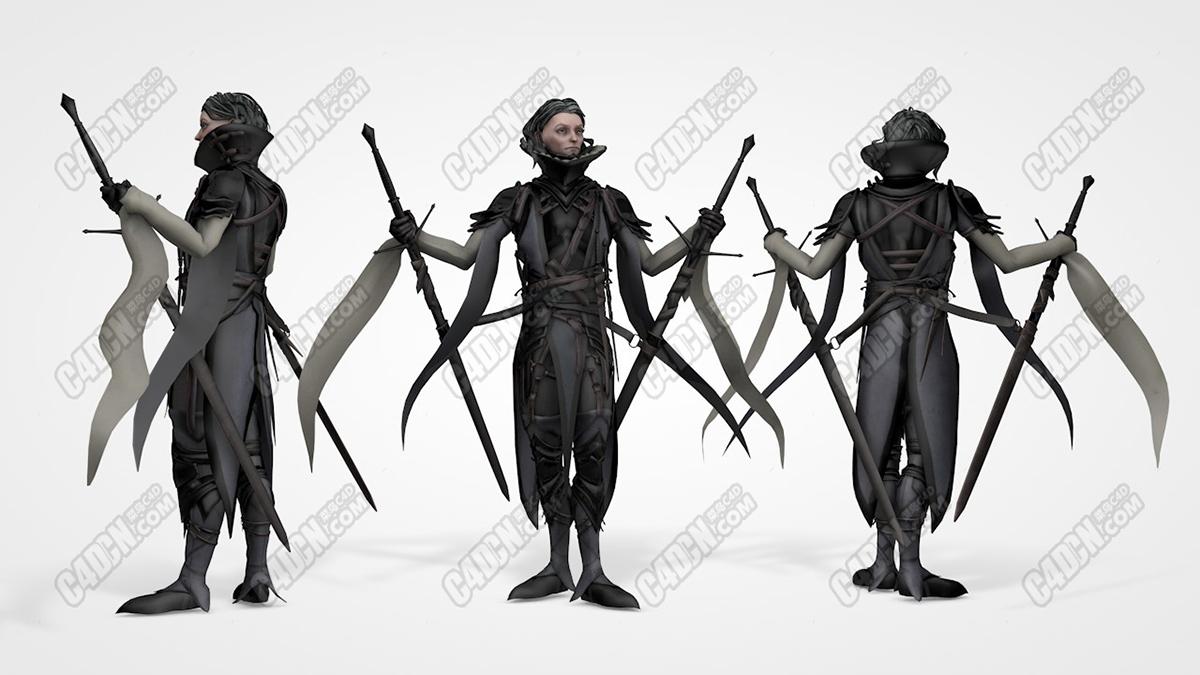 C4D模型-使用双剑的女剑客模型 Mordred 3D model