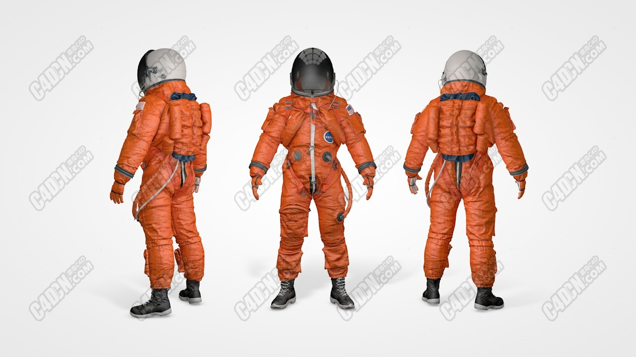 C4D模型-精品美国nasa宇航局宇航员太空服宇航服模型 NASA ACES Space Suit