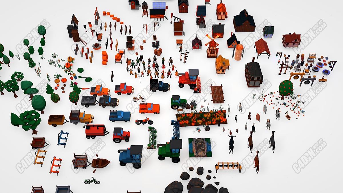 C4D低面模卡通城市农庄树木农用车风车工程机械村庄小镇组件C4D模型素材合集